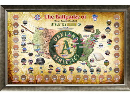 Oakland Athletics Ballpark Map Framed Collage w/Game Used Dirt