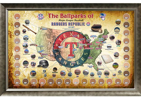Texas Rangers Ballpark Map Framed Collage w/Game Used Dirt
